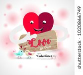 happy valentine's day vector... | Shutterstock .eps vector #1020866749