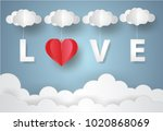 valentine's day concept.paper... | Shutterstock .eps vector #1020868069