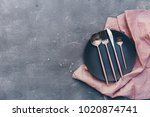 top view of ceramic plates on...   Shutterstock . vector #1020874741