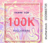 100k followers thank you square ... | Shutterstock .eps vector #1020883735