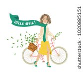 springtide. hello april  girl... | Shutterstock .eps vector #1020885151