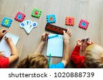 kids learning numbers  mental... | Shutterstock . vector #1020888739