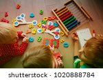 kids learning numbers  abacus... | Shutterstock . vector #1020888784