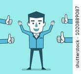 businessman celebrates...   Shutterstock .eps vector #1020889087