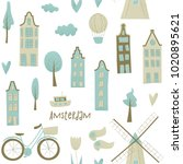 amsterdam vector design with... | Shutterstock .eps vector #1020895621