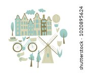amsterdam vector design with... | Shutterstock .eps vector #1020895624