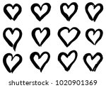 hand drawn hearts set. love... | Shutterstock .eps vector #1020901369