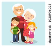happy grandparents with... | Shutterstock .eps vector #1020906025