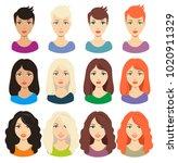 set of different girl's... | Shutterstock .eps vector #1020911329