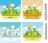 seasonal weather set landscapes | Shutterstock .eps vector #1020915949