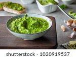 bowl of basil pesto  selective... | Shutterstock . vector #1020919537