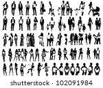silhouettes of people | Shutterstock .eps vector #102091984