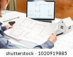 young female architect and...   Shutterstock . vector #1020919885