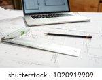 image of laptop  pencil ...   Shutterstock . vector #1020919909