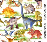cute dinosaurs watercolor... | Shutterstock . vector #1020923605
