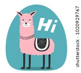 cute. lama. greeting.... | Shutterstock .eps vector #1020929767