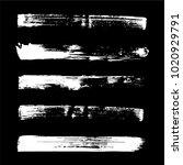 set of grunge brush. ink black... | Shutterstock .eps vector #1020929791