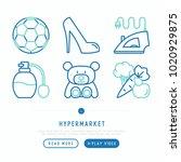 hypermarket thin line icons set ... | Shutterstock .eps vector #1020929875