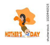 happy mother day | Shutterstock .eps vector #1020940525