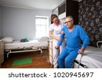 helping to senior immobility... | Shutterstock . vector #1020945697