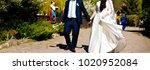 bride and groom on wedding day | Shutterstock . vector #1020952084