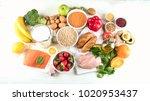 balanced diet. healthy food...   Shutterstock . vector #1020953437
