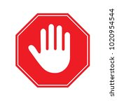 stop sign isolated on a white... | Shutterstock .eps vector #1020954544