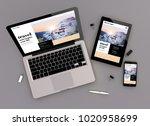 3d rendering of travel website... | Shutterstock . vector #1020958699