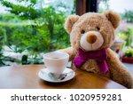 bear doll drinking hot... | Shutterstock . vector #1020959281