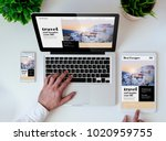 office tabletop with tablet ... | Shutterstock . vector #1020959755