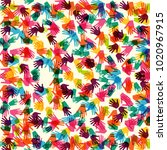 abstract vector hand prints... | Shutterstock .eps vector #1020967915