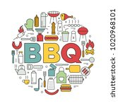 barbecue icons in circle. icon... | Shutterstock .eps vector #1020968101