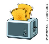 toaster with toasts pop art... | Shutterstock .eps vector #1020972811