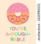 cute donut cartoon illustration ... | Shutterstock .eps vector #1020983221
