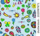 set of fashionable patches... | Shutterstock . vector #1020987871