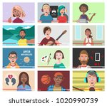 set of different people on... | Shutterstock .eps vector #1020990739
