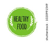 healthy food logo. green circle ... | Shutterstock .eps vector #1020991549