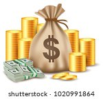 illustration of stacks of coins ... | Shutterstock . vector #1020991864