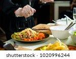 master class in preparing meat...   Shutterstock . vector #1020996244