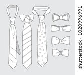 set of simple sketches of ties... | Shutterstock .eps vector #1020996991