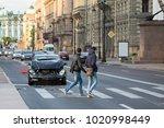 car with a damaged hood  bumper ... | Shutterstock . vector #1020998449