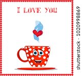 i love you card with cute... | Shutterstock .eps vector #1020998869