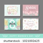 set of four greeting cards for...   Shutterstock .eps vector #1021002625
