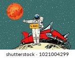 the road to mars. car broke... | Shutterstock .eps vector #1021004299