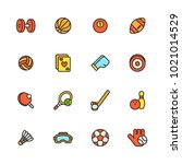 sports colorful line icon set... | Shutterstock .eps vector #1021014529
