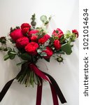 the red bouquet photography... | Shutterstock . vector #1021014634