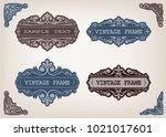 set of vintage frame with...   Shutterstock .eps vector #1021017601
