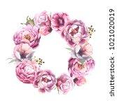 watercolor romantic wreath of... | Shutterstock . vector #1021020019