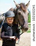 horse and jockey   little girl... | Shutterstock . vector #102102241