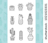 linear icon set  of succulent... | Shutterstock .eps vector #1021023331